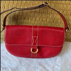 Nwot Lancel red reptile embossed leather bag
